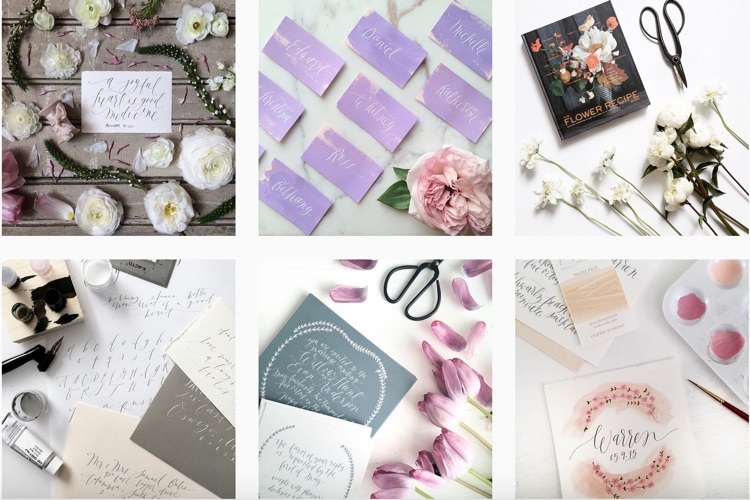 Instagram of Chicago Wedding Calligrapher and Designer Layers of Loveliness